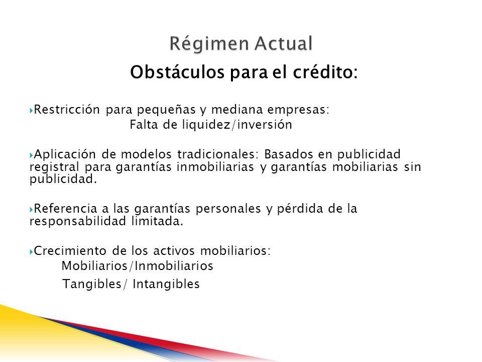 Obstáculos para el crédito: Restricción para pequeñas y mediana empresas: Falta de liquidez/inversión Aplicación de modelos tradicionales: Basados en publicidad registral para garantías inmobiliarias y garantías mobiliarias sin publicidad.