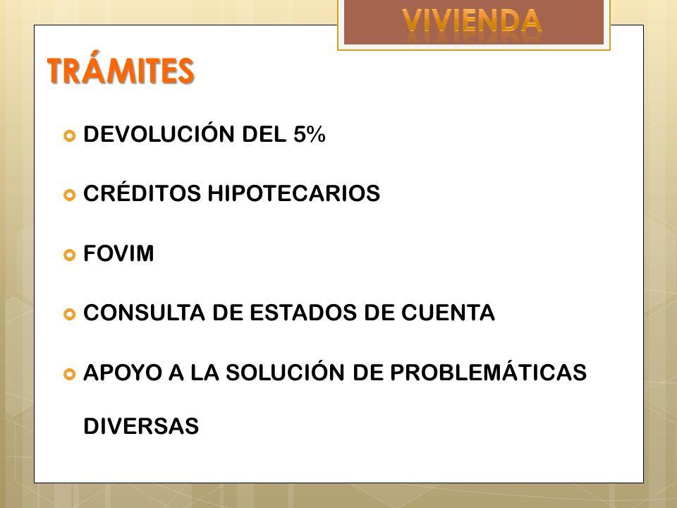 TRÁMITES DEVOLUCIÓN DEL 5% CRÉDITOS HIPOTECARIOS FOVIM CONSULTA DE ESTADOS DE CUENTA APOYO A LA SOLUCIÓN DE PROBLEMÁTICAS DIVERSAS