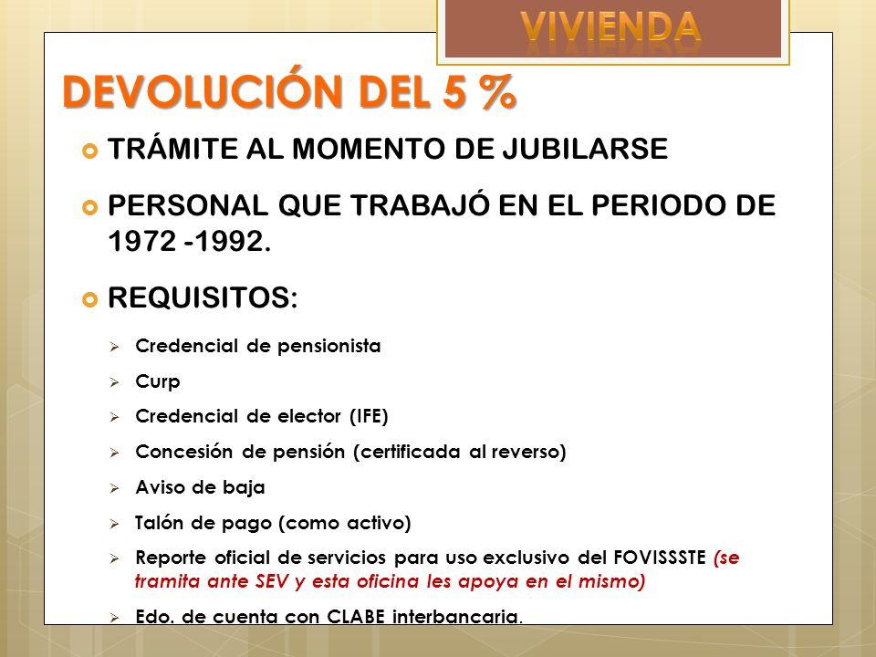 DEVOLUCIÓN DEL 5 % TRÁMITE AL MOMENTO DE JUBILARSE PERSONAL QUE TRABAJÓ EN EL PERIODO DE 1972 -1992.