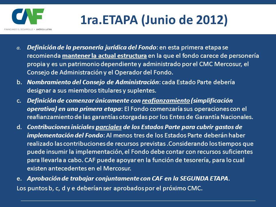 1ra.ETAPA (Junio de 2012) a. Definición de la personería jurídica del Fondo: en esta primera etapa se recomienda mantener la actual estructura en la q