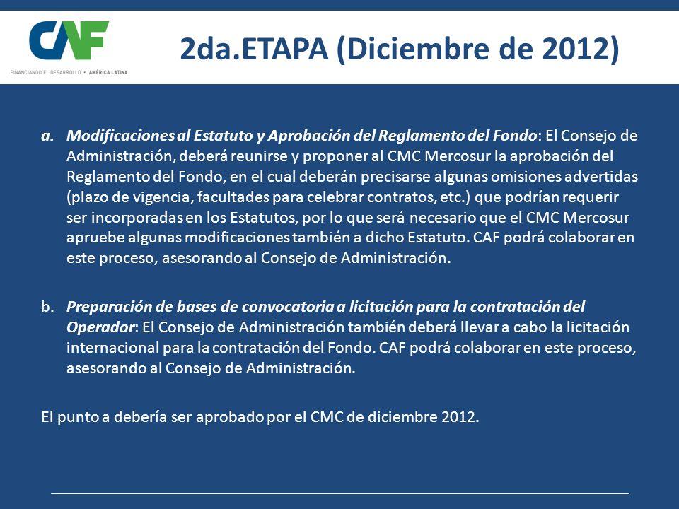 2da.ETAPA (Diciembre de 2012) a.Modificaciones al Estatuto y Aprobación del Reglamento del Fondo: El Consejo de Administración, deberá reunirse y prop