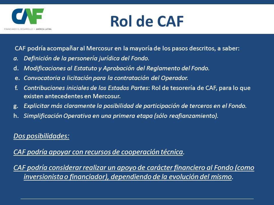 Rol de CAF CAF podría acompañar al Mercosur en la mayoría de los pasos descritos, a saber: a.Definición de la personería jurídica del Fondo. d.Modific