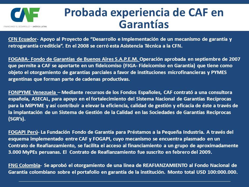 Re-afianzamiento / Co-afianzamiento de Sistemas de Garantías de Crédito Operación FOGAPI Perú FOGAPI afianza el 50% del capital de los créditos otorgados por intermediarios financieros locales CAF re-afianza el 50% del 50% afianzado por FOGAPI (25% del crédito) Reafianzamiento FOGAPI Perú