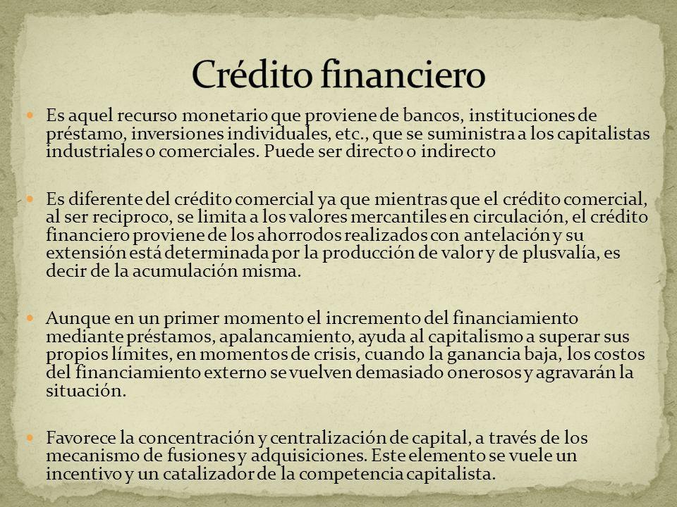Es aquel recurso monetario que proviene de bancos, instituciones de préstamo, inversiones individuales, etc., que se suministra a los capitalistas ind