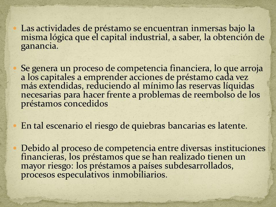 Las actividades de préstamo se encuentran inmersas bajo la misma lógica que el capital industrial, a saber, la obtención de ganancia. Se genera un pro