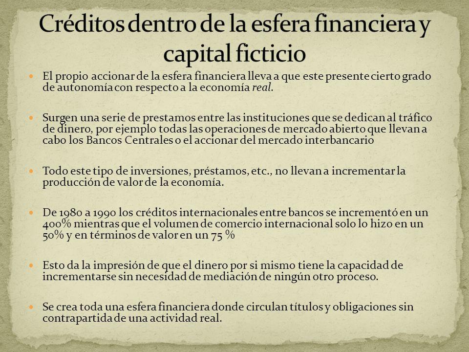 El propio accionar de la esfera financiera lleva a que este presente cierto grado de autonomía con respecto a la economía real. Surgen una serie de pr