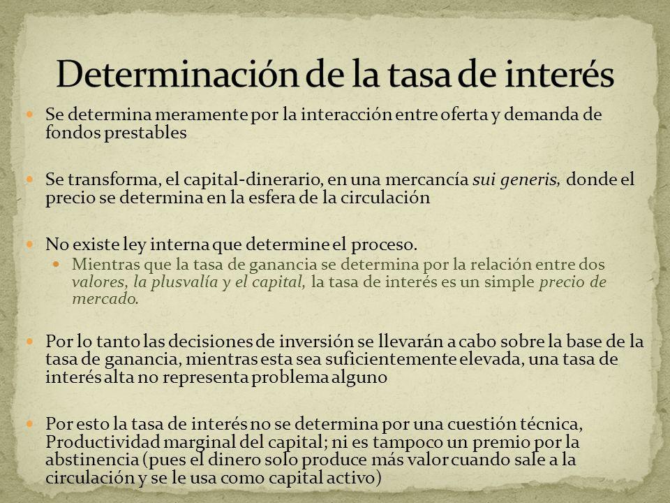 Se determina meramente por la interacción entre oferta y demanda de fondos prestables Se transforma, el capital-dinerario, en una mercancía sui generi