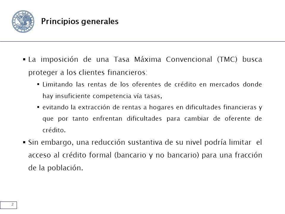 2 Principios generales La imposición de una Tasa Máxima Convencional (TMC) busca proteger a los clientes financieros: Limitando las rentas de los ofer