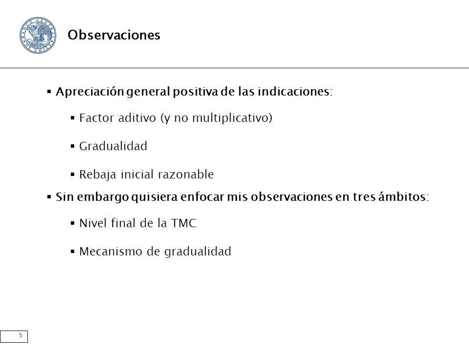 5 Observaciones Apreciación general positiva de las indicaciones: Factor aditivo (y no multiplicativo) Gradualidad Rebaja inicial razonable Sin embargo quisiera enfocar mis observaciones en tres ámbitos: Nivel final de la TMC Mecanismo de gradualidad