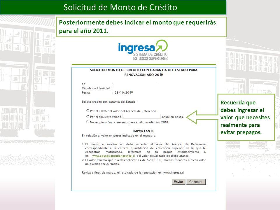 Solicitud de Monto de Crédito Posteriormente debes indicar el monto que requerirás para el año 2011.