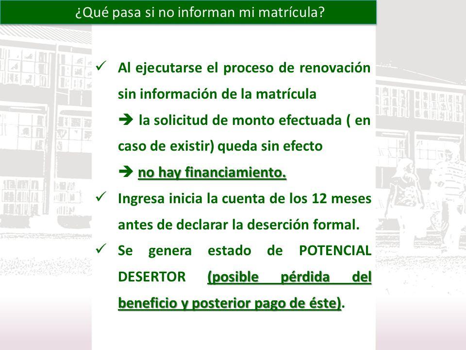 Al ejecutarse el proceso de renovación sin información de la matrícula la solicitud de monto efectuada ( en caso de existir) queda sin efecto no hay f