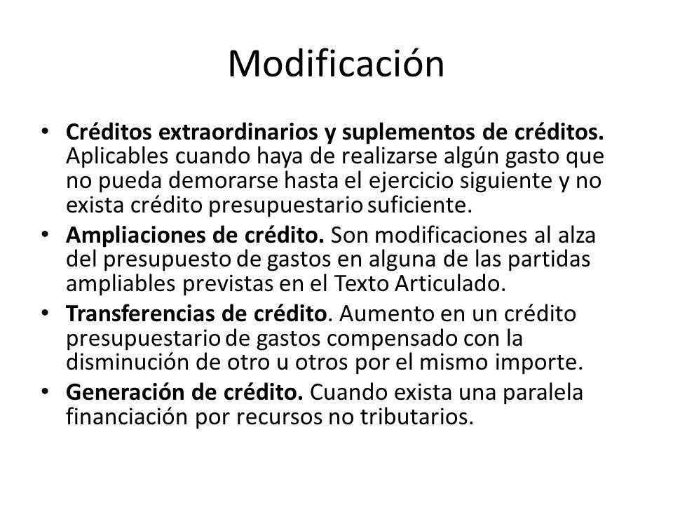 Modificación Créditos extraordinarios y suplementos de créditos.