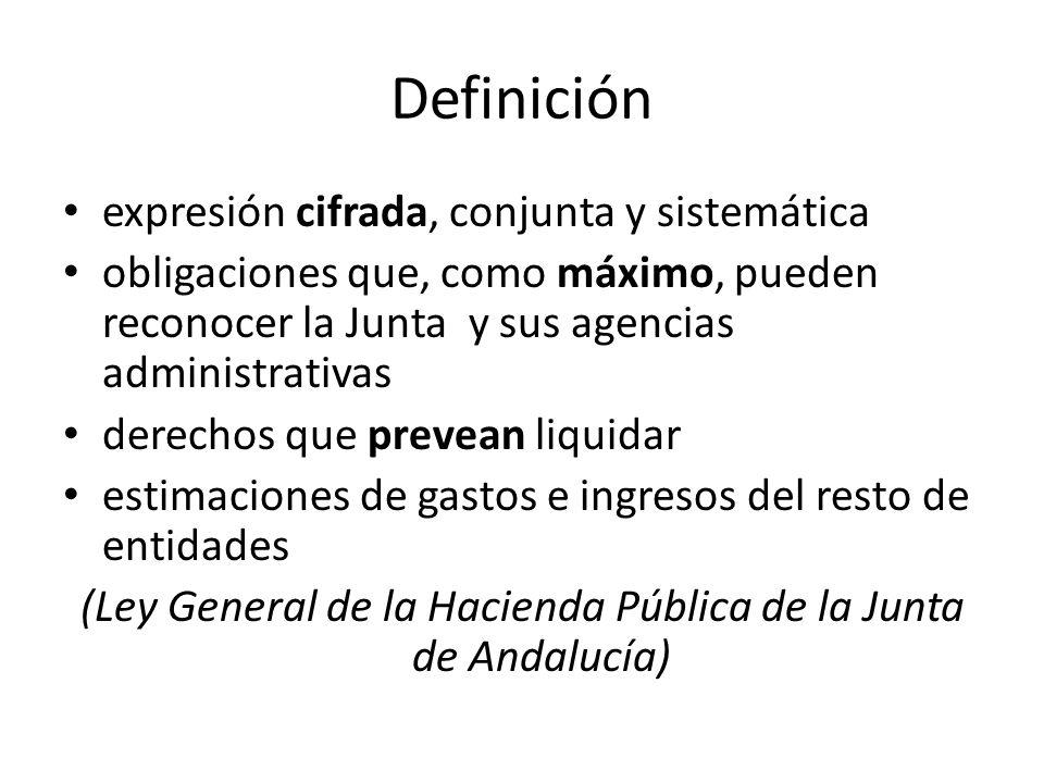 Definición expresión cifrada, conjunta y sistemática obligaciones que, como máximo, pueden reconocer la Junta y sus agencias administrativas derechos que prevean liquidar estimaciones de gastos e ingresos del resto de entidades (Ley General de la Hacienda Pública de la Junta de Andalucía)