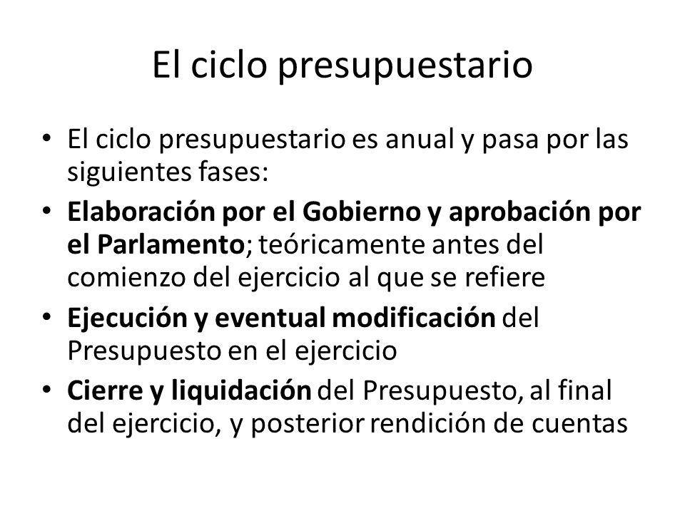 El ciclo presupuestario El ciclo presupuestario es anual y pasa por las siguientes fases: Elaboración por el Gobierno y aprobación por el Parlamento; teóricamente antes del comienzo del ejercicio al que se refiere Ejecución y eventual modificación del Presupuesto en el ejercicio Cierre y liquidación del Presupuesto, al final del ejercicio, y posterior rendición de cuentas