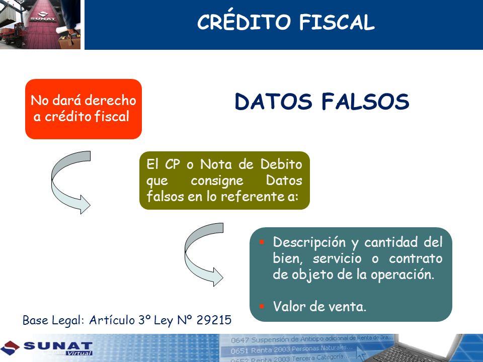 DATOS FALSOS No dará derecho a crédito fiscal El CP o Nota de Debito que consigne Datos falsos en lo referente a: Descripción y cantidad del bien, ser