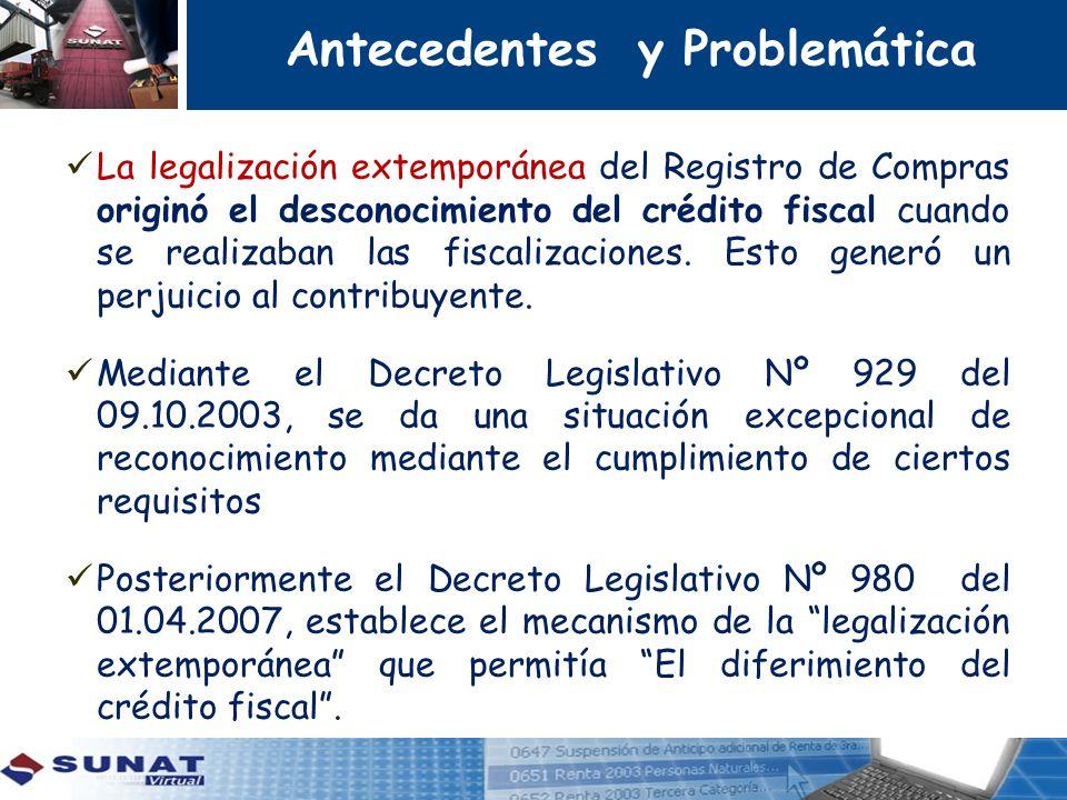 La legalización extemporánea del Registro de Compras originó el desconocimiento del crédito fiscal cuando se realizaban las fiscalizaciones. Esto gene