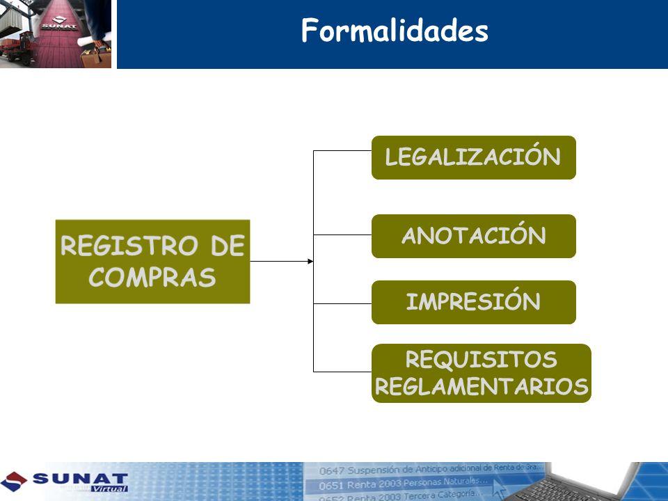 LEGALIZACIÓN ANOTACIÓN REQUISITOS REGLAMENTARIOS IMPRESIÓN Formalidades