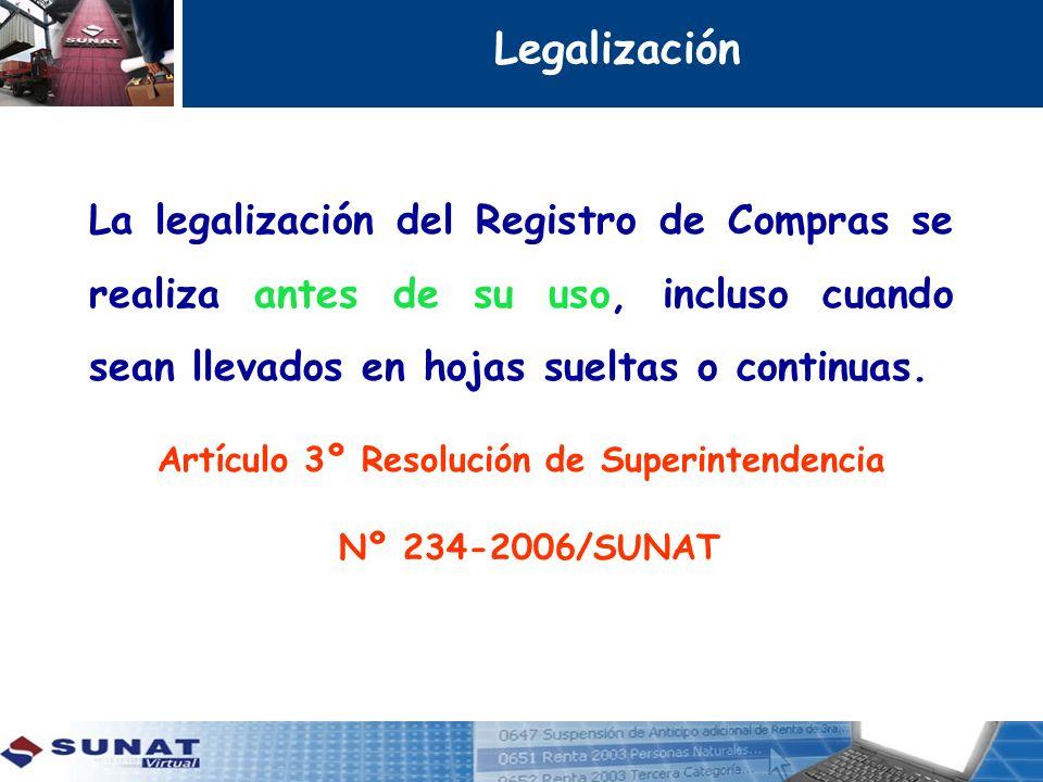 Legalización La legalización del Registro de Compras se realiza antes de su uso, incluso cuando sean llevados en hojas sueltas o continuas. Artículo 3