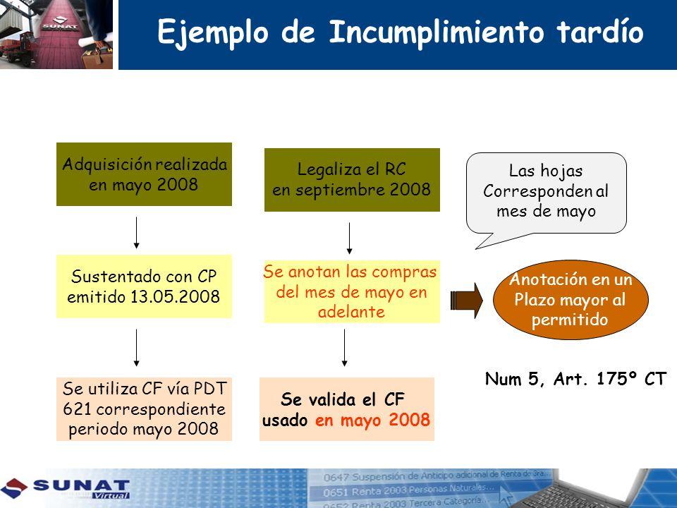 Adquisición realizada en mayo 2008 Sustentado con CP emitido 13.05.2008 Se utiliza CF vía PDT 621 correspondiente periodo mayo 2008 Legaliza el RC en