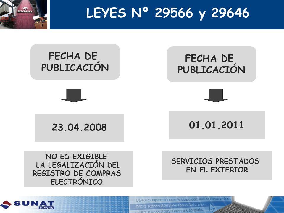 FECHA DE PUBLICACIÓN 23.04.2008 FECHA DE PUBLICACIÓN 01.01.2011 LEYES Nº 29566 y 29646 SERVICIOS PRESTADOS EN EL EXTERIOR NO ES EXIGIBLE LA LEGALIZACI