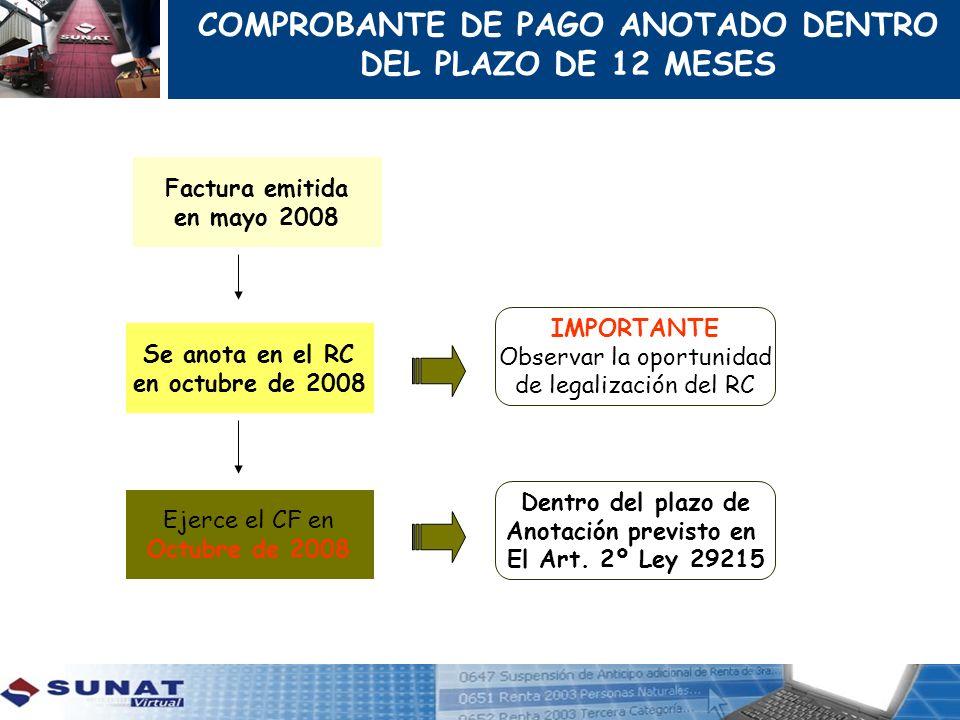 Factura emitida en mayo 2008 Se anota en el RC en octubre de 2008 Ejerce el CF en Octubre de 2008 IMPORTANTE Observar la oportunidad de legalización d