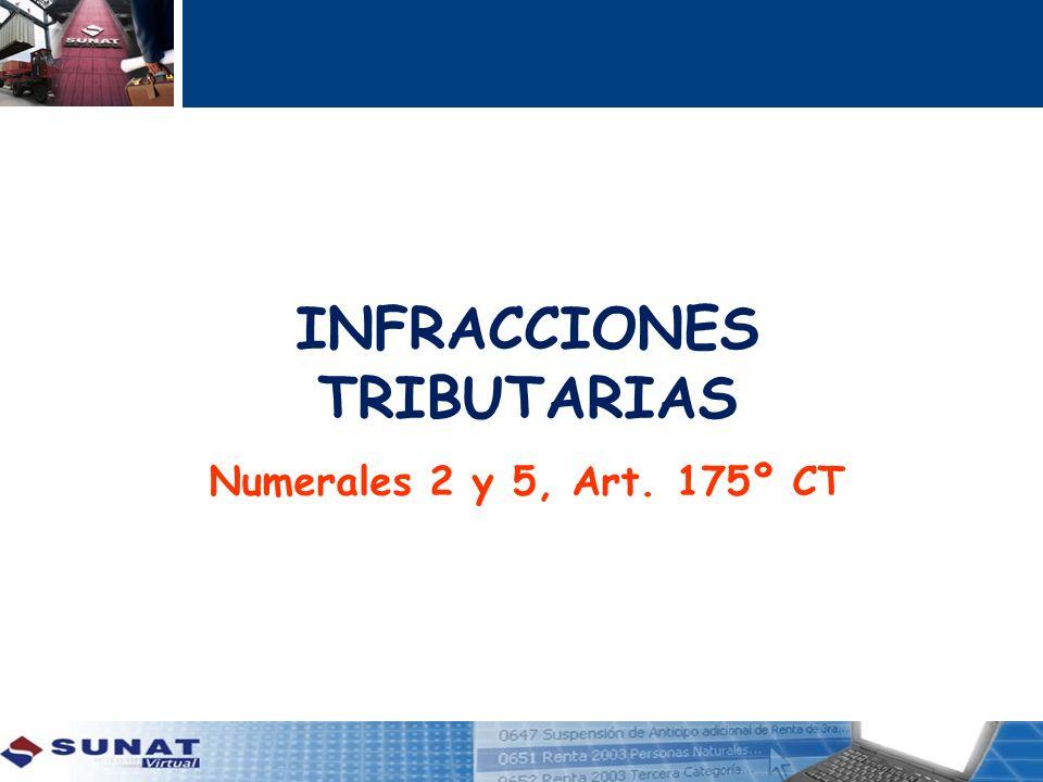 INFRACCIONES TRIBUTARIAS Numerales 2 y 5, Art. 175º CT