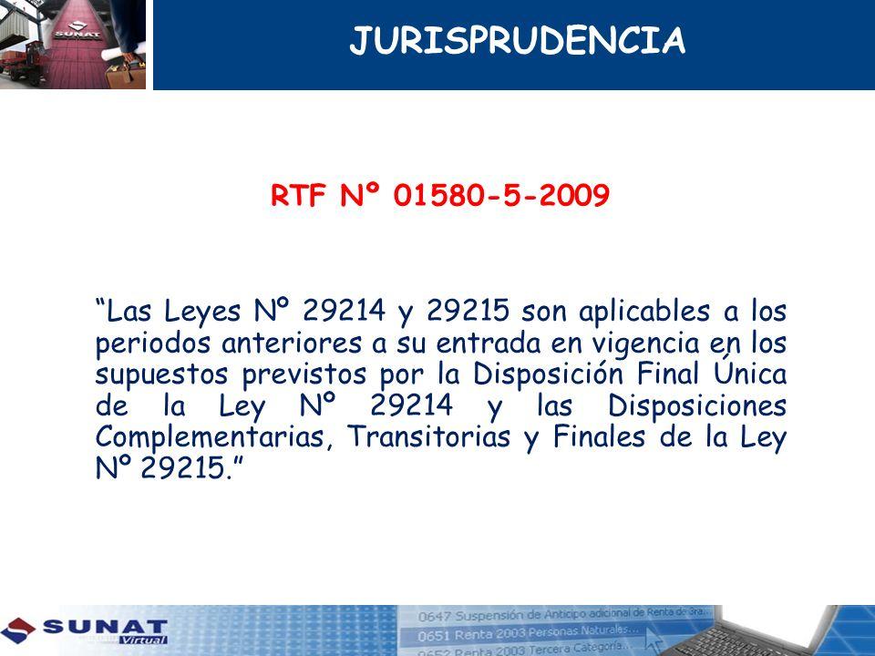 RTF Nº 01580-5-2009 Las Leyes Nº 29214 y 29215 son aplicables a los periodos anteriores a su entrada en vigencia en los supuestos previstos por la Dis