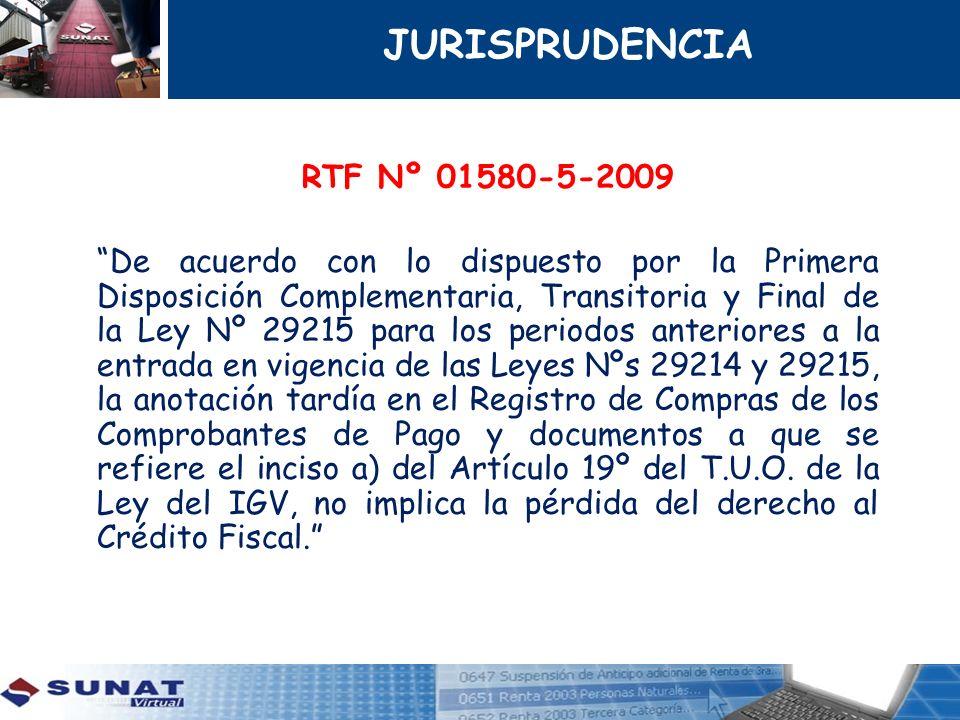 RTF Nº 01580-5-2009 De acuerdo con lo dispuesto por la Primera Disposición Complementaria, Transitoria y Final de la Ley Nº 29215 para los periodos an