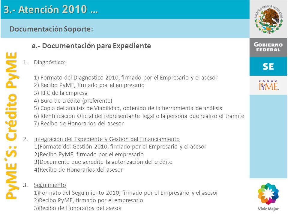 a.- Documentación para Expediente 1.Diagnóstico: 1) Formato del Diagnostico 2010, firmado por el Empresario y el asesor 2) Recibo PyME, firmado por el