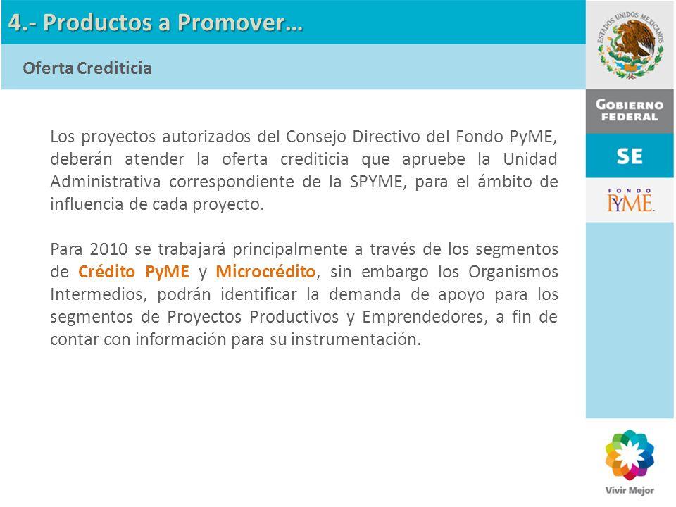 Los proyectos autorizados del Consejo Directivo del Fondo PyME, deberán atender la oferta crediticia que apruebe la Unidad Administrativa correspondie