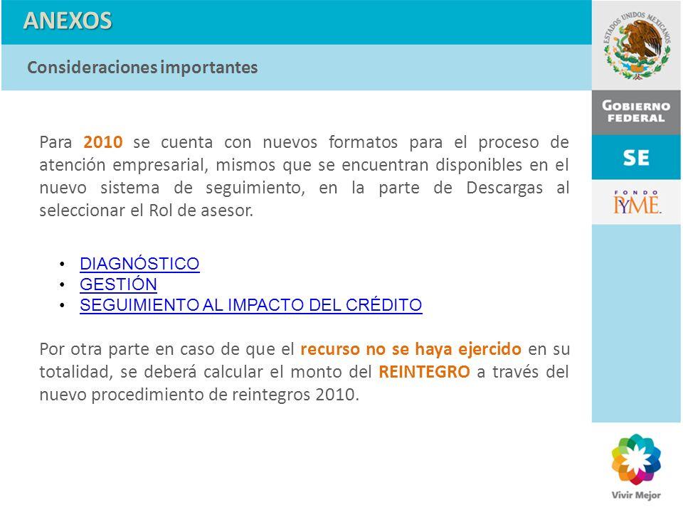 ANEXOS Para 2010 se cuenta con nuevos formatos para el proceso de atención empresarial, mismos que se encuentran disponibles en el nuevo sistema de se