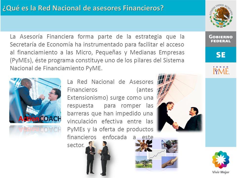 La Red Nacional de Asesores Financieros (antes Extensionismo) surge como una respuesta para romper las barreras que han impedido una vinculación efect