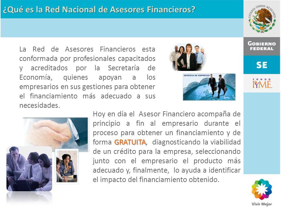 GRATUITA Hoy en día el Asesor Financiero acompaña de principio a fin al empresario durante el proceso para obtener un financiamiento y de forma GRATUI