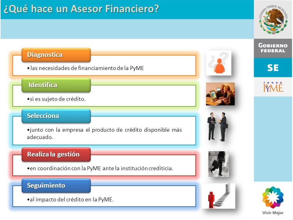 ¿Qué hace un Asesor Financiero? las necesidades de financiamiento de la PyME Diagnostica si es sujeto de crédito. Identifica Identifica junto con la e