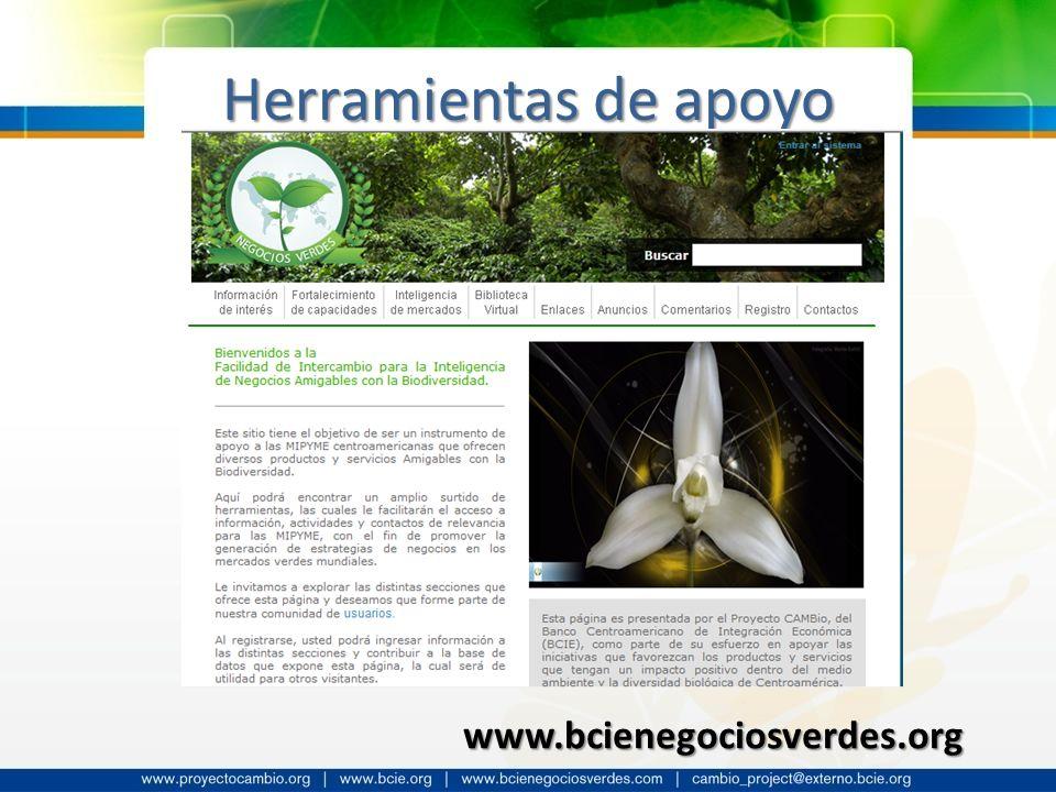 Herramientas de apoyo www.bcienegociosverdes.org
