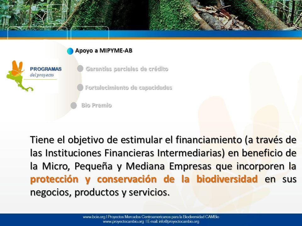PROGRAMAS Apoyo a MIPYME-AB Garantías parciales de crédito Fortalecimiento de capacidades Bio Premio Tiene el objetivo de estimular el financiamiento