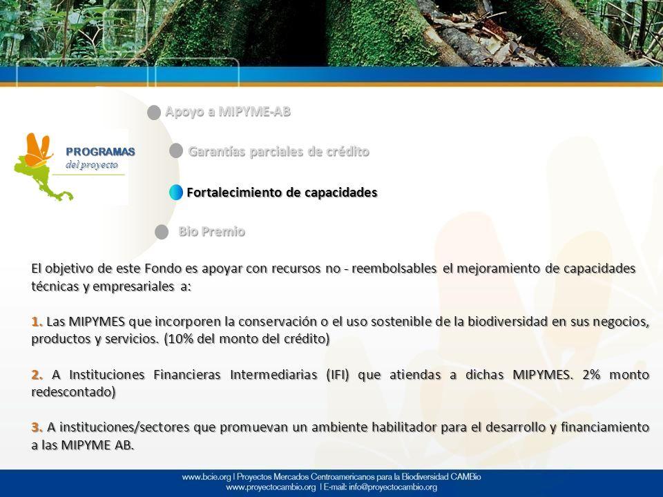 PROGRAMAS del proyecto Apoyo a MIPYME-AB Garantías parciales de crédito Fortalecimiento de capacidades Bio Premio El objetivo de este Fondo es apoyar