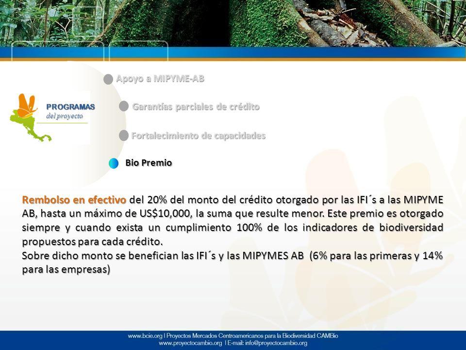 PROGRAMAS del proyecto Apoyo a MIPYME-AB Garantías parciales de crédito Fortalecimiento de capacidades Bio Premio Rembolso en efectivo del 20% del mon