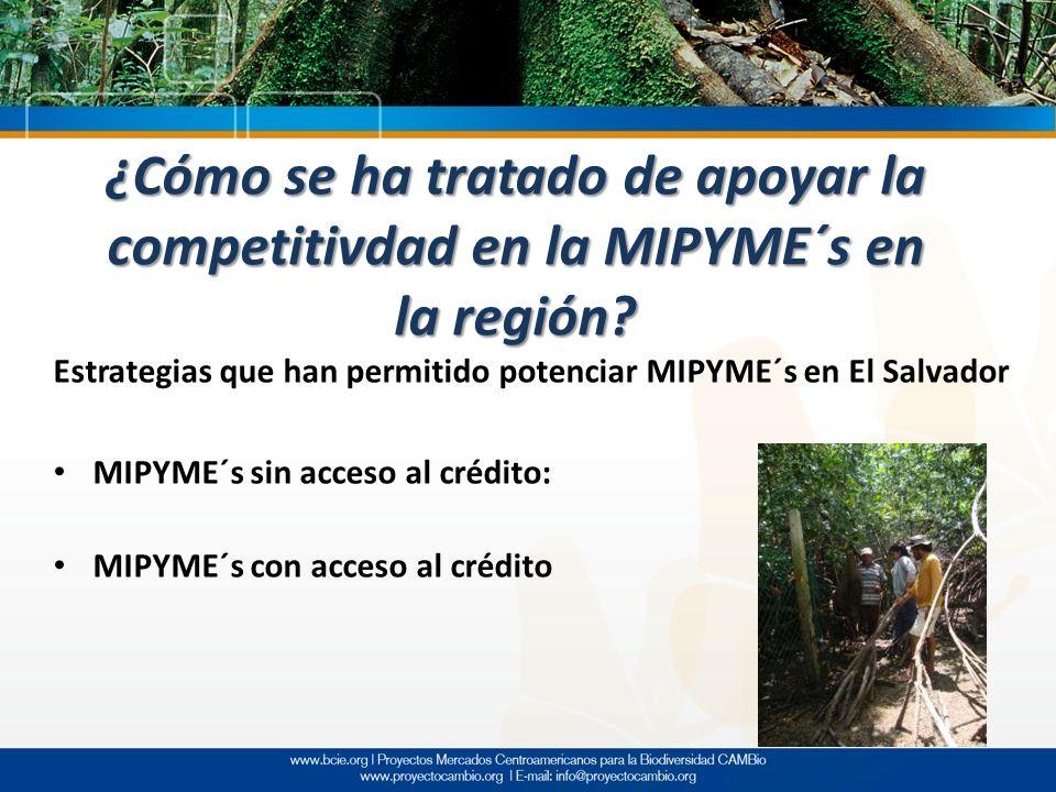 Estrategias que han permitido potenciar MIPYME´s en El Salvador MIPYME´s sin acceso al crédito: MIPYME´s con acceso al crédito ¿Cómo se ha tratado de