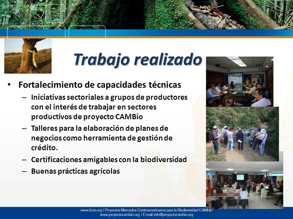Trabajo realizado Fortalecimiento de capacidades técnicas – Iniciativas sectoriales a grupos de productores con el interés de trabajar en sectores pro