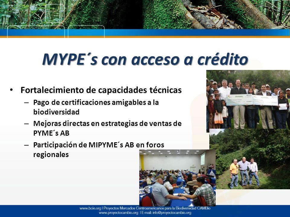 MYPE´s con acceso a crédito Fortalecimiento de capacidades técnicas – Pago de certificaciones amigables a la biodiversidad – Mejoras directas en estra