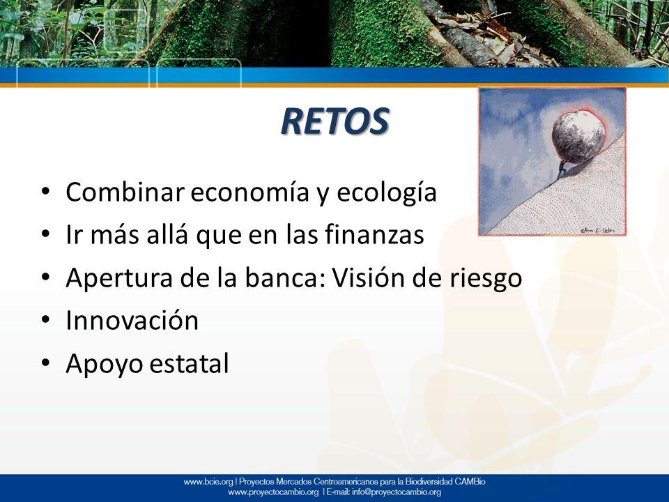 RETOS Combinar economía y ecología Ir más allá que en las finanzas Apertura de la banca: Visión de riesgo Innovación Apoyo estatal