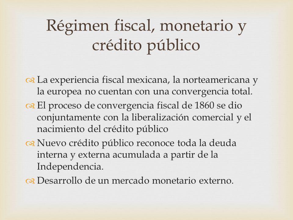 La experiencia fiscal mexicana, la norteamericana y la europea no cuentan con una convergencia total. El proceso de convergencia fiscal de 1860 se dio