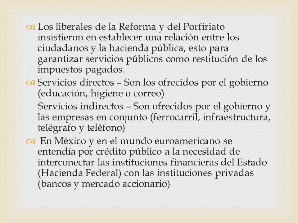 Los liberales de la Reforma y del Porfiriato insistieron en establecer una relación entre los ciudadanos y la hacienda pública, esto para garantizar servicios públicos como restitución de los impuestos pagados.
