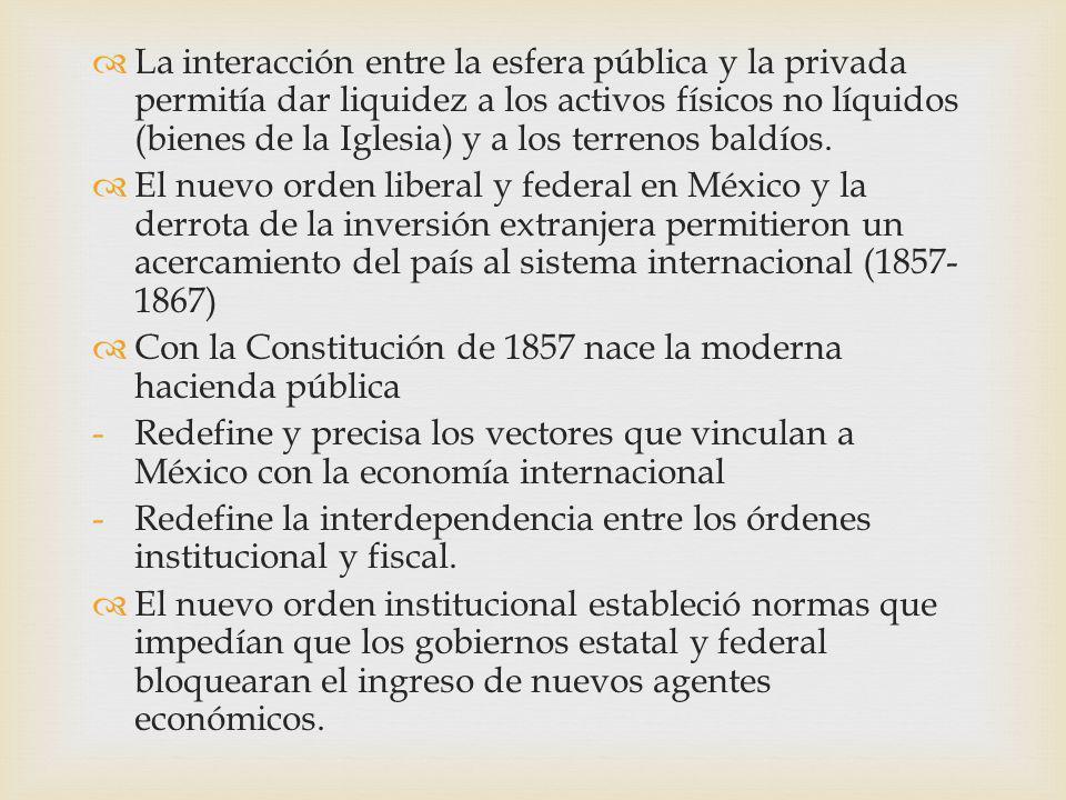 La interacción entre la esfera pública y la privada permitía dar liquidez a los activos físicos no líquidos (bienes de la Iglesia) y a los terrenos ba