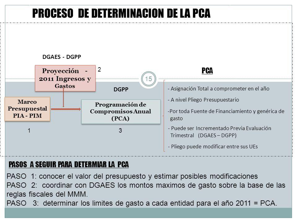 PROCESO DE DETERMINACION DE LA PCA Marco Presupuestal PIA - PIM Marco Presupuestal PIA - PIM Proyección - 2011 Ingresos y Gastos DGAES - DGPP 15 Progr
