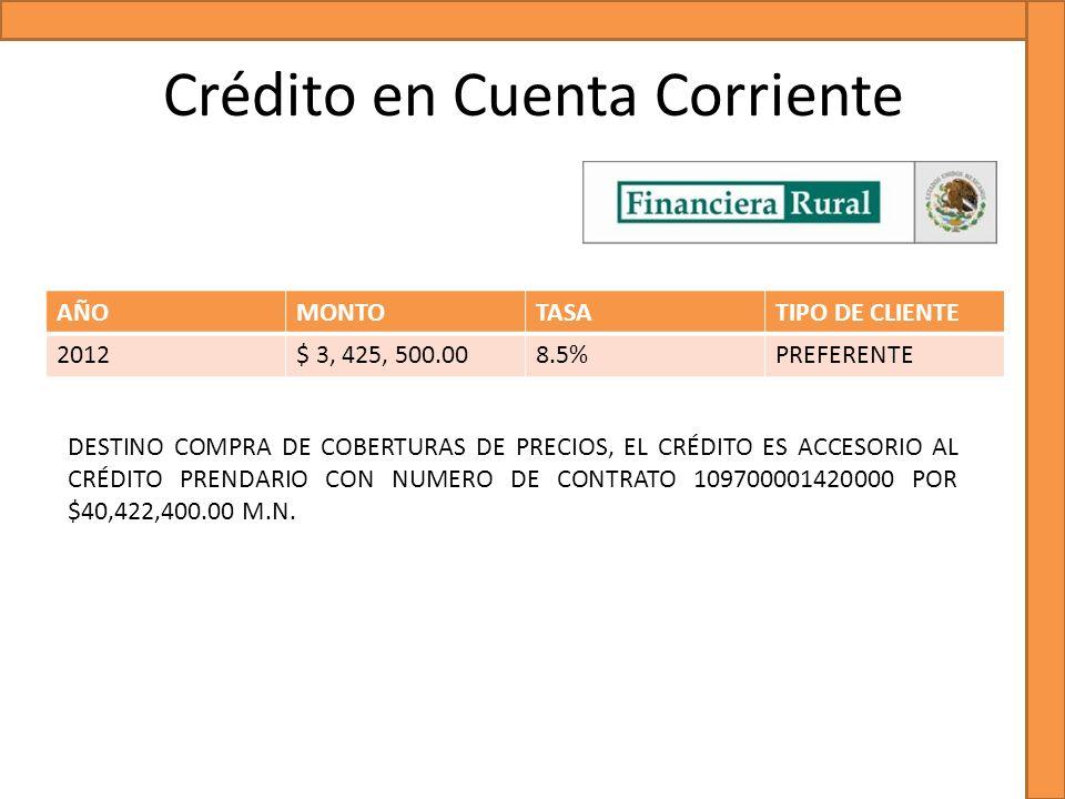 Crédito en Cuenta Corriente AÑOMONTOTASATIPO DE CLIENTE 2012$ 3, 425, 500.008.5%PREFERENTE DESTINO COMPRA DE COBERTURAS DE PRECIOS, EL CRÉDITO ES ACCE
