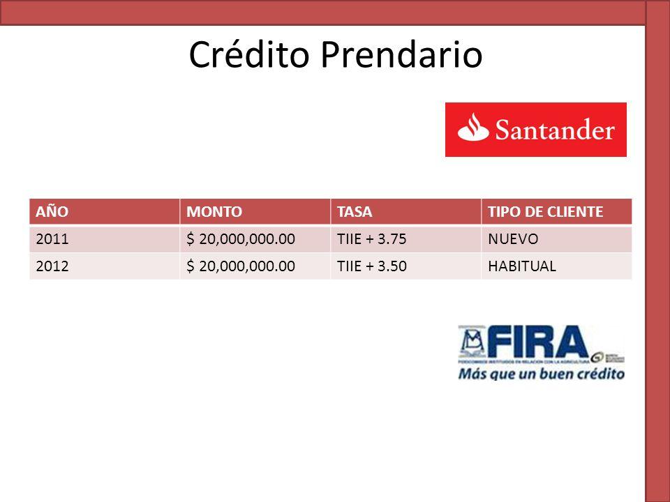 Crédito Prendario AÑOMONTOTASATIPO DE CLIENTE 2011$ 20,000,000.00TIIE + 3.75NUEVO 2012$ 20,000,000.00TIIE + 3.50HABITUAL
