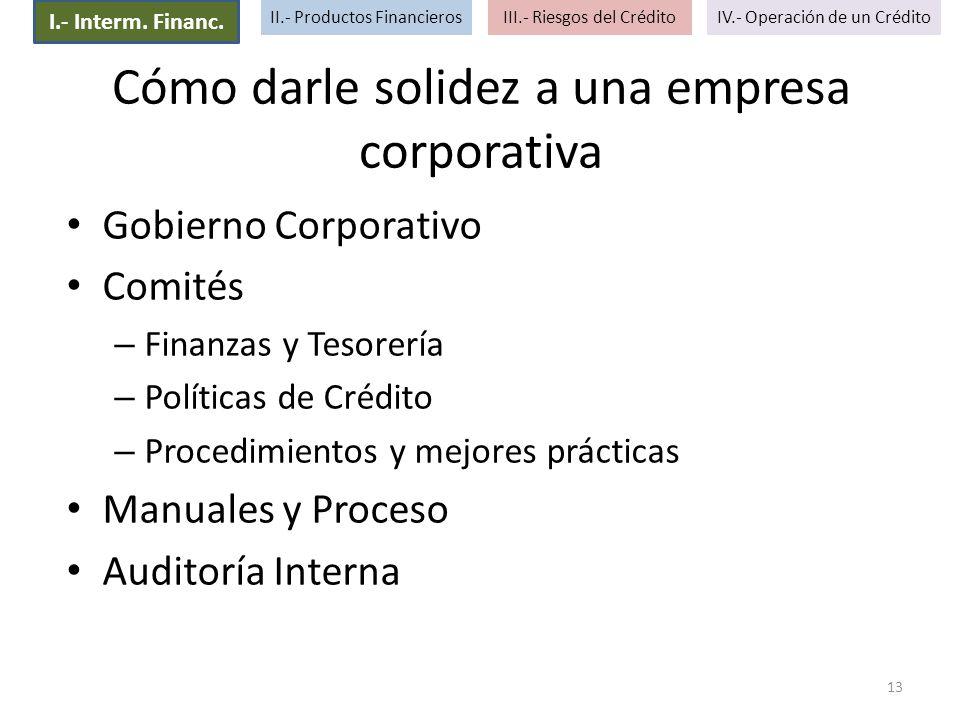 Cómo darle solidez a una empresa corporativa Gobierno Corporativo Comités – Finanzas y Tesorería – Políticas de Crédito – Procedimientos y mejores prá