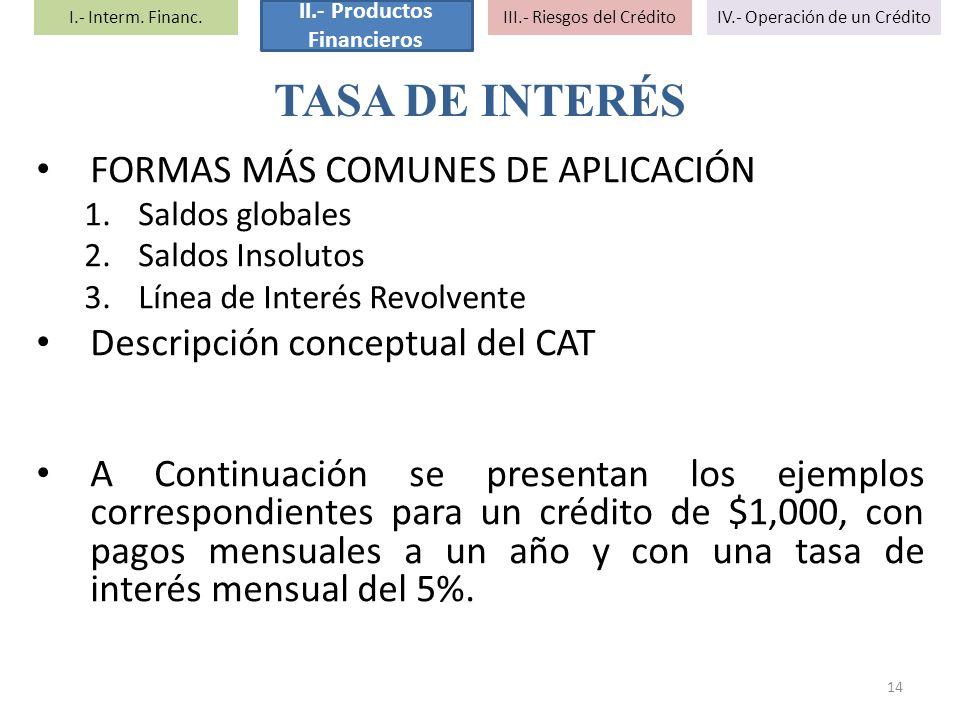 FORMAS MÁS COMUNES DE APLICACIÓN 1.Saldos globales 2.Saldos Insolutos 3.Línea de Interés Revolvente Descripción conceptual del CAT A Continuación se p